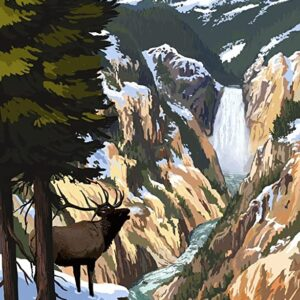 Yellowstone National Park Elk And Waterfall Poster