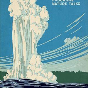 Yellowstone National Park Old Faithful Vintage Print