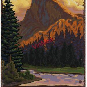 Yosemite National Park Mountain Retro Poster