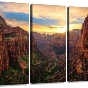 Zion Canyon Sunset Tri Panel Print