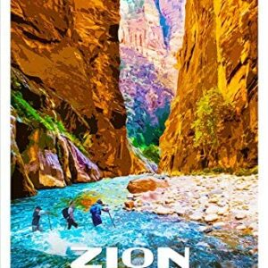Zion National Park The Narrows Vintage Poster