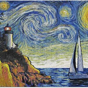 Acadia National Park Lighthouse Starry Night Puzzle
