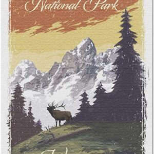 Grand Teton National Park Mountain View And Elk Puzzle