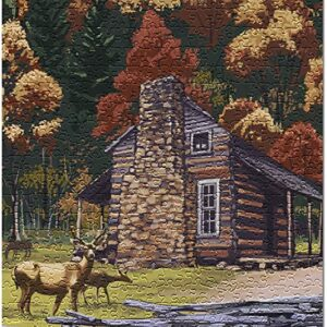 Great Smoky Mountains Cades Cove And John Oliver Cabin Puzzle