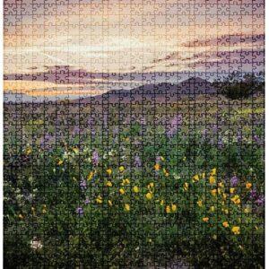 Joshua Tree California Wildflower Sunset Puzzle