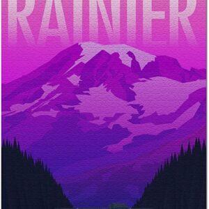Mount Rainier National Park Neon Sunset Puzzle