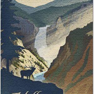 Yellowstone Falls Lithograph Jigsaw Puzzle